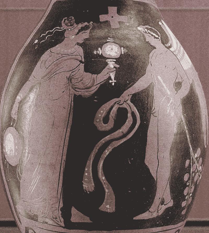 Genius grego em frente a uma mulher segurando um espelho e uma espécie de tambor. Magna Grécia. Ano 320.