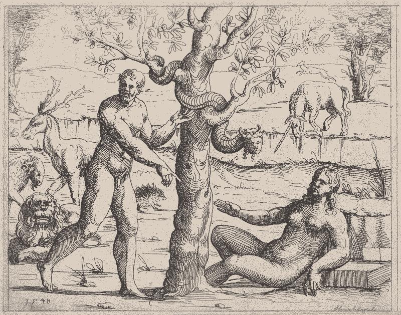 Gravura de Eva, Adão, a serpente e o fruto proibido