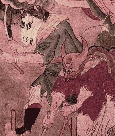 Pergaminhos com imagem de demônios na China e Japão