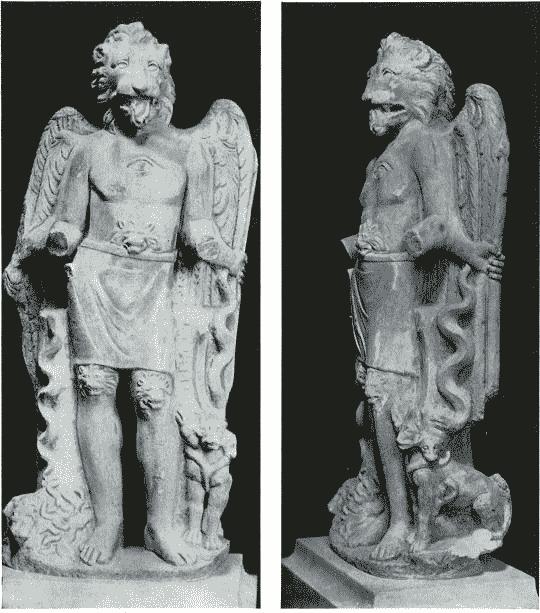 Figura com cabeça de leão e cobra enrolada da Mitra