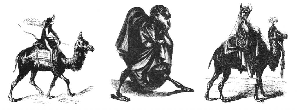 Paimon, Vual e Gremory, os três daemons da Goécia com características humanas e de camelos/dromedários.