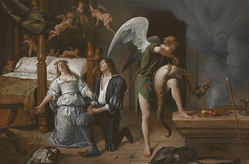 Arcanjo amarrando Asmodeus em noite de casamento de Tobias e Sarah. Jan Steen, 1660